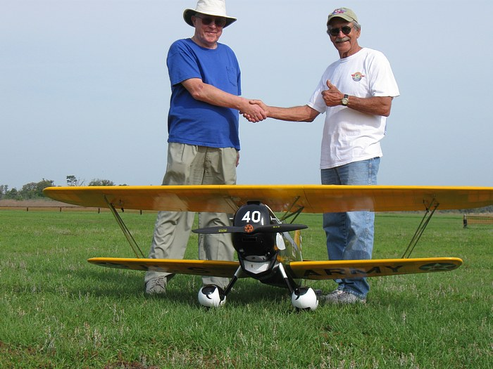 Bob Bishop and Herb Chutter proir to the first flight of a scale RC airplane.