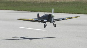 Hangar 9 Spitfire IXC 30cc ARF:Taking off.