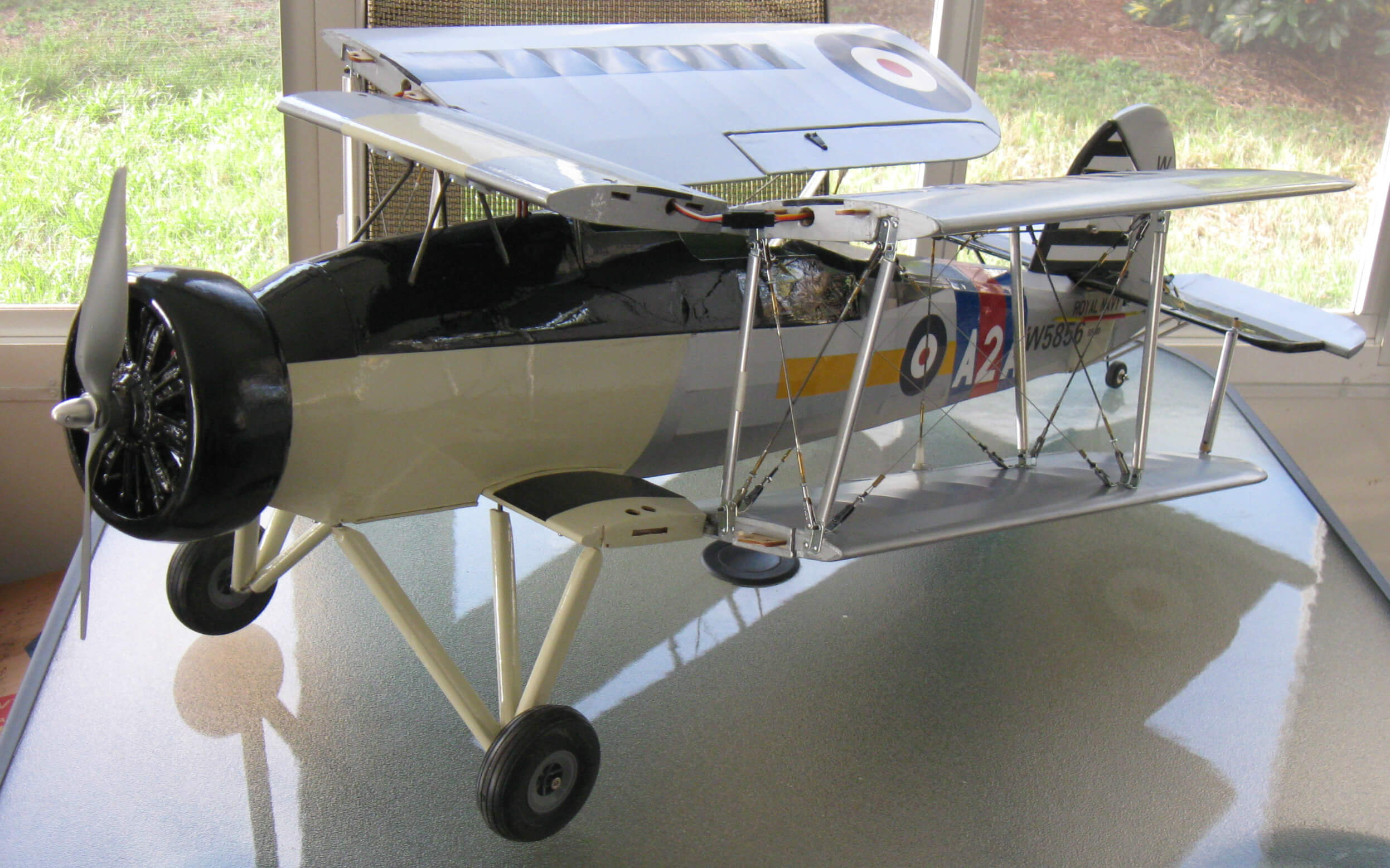 RC Fairey Swordfish with wings folded and ready for transportation to the flying field.