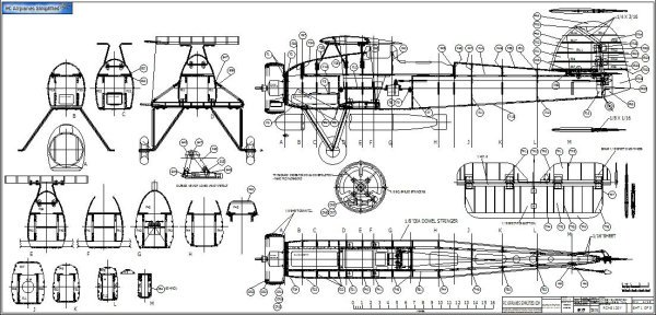 RC Scale Fairey Swordfish Cad Drawings: Sheet 1-fuselage and tail parts.