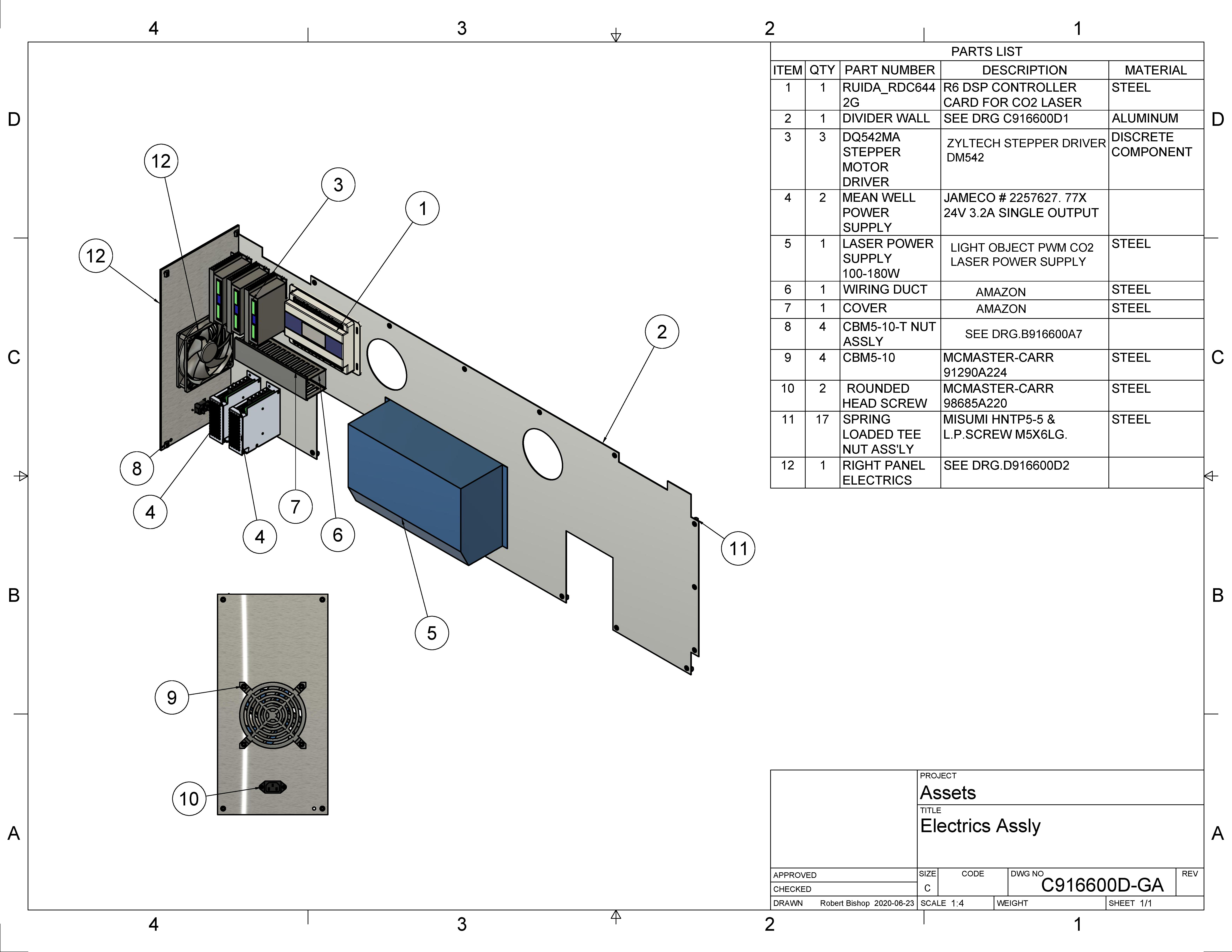 Laser Cutter-Electrics assembly drawing