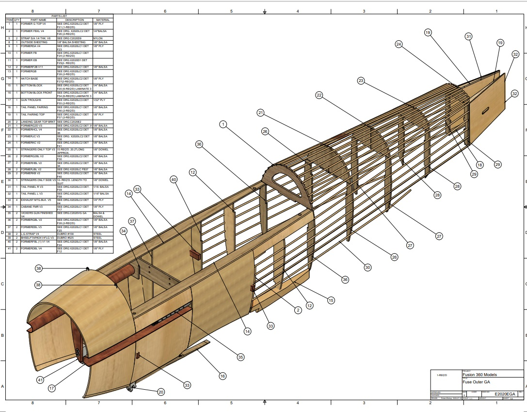 RC Hawker Demon: Fuselage outer construction.