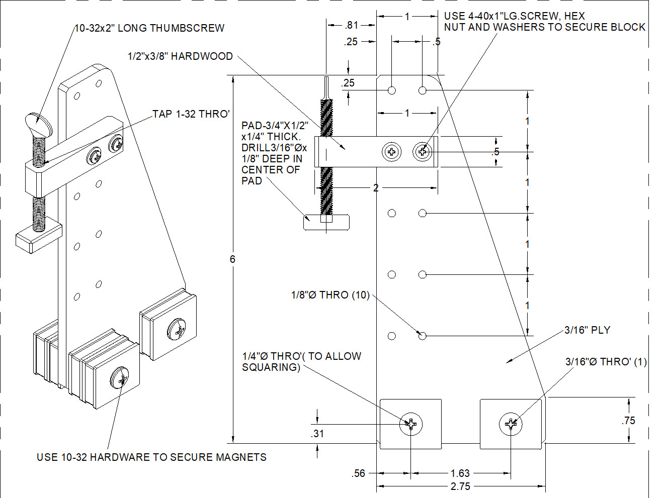 Drawing of Magnetic Hold Down for building RC airplanes