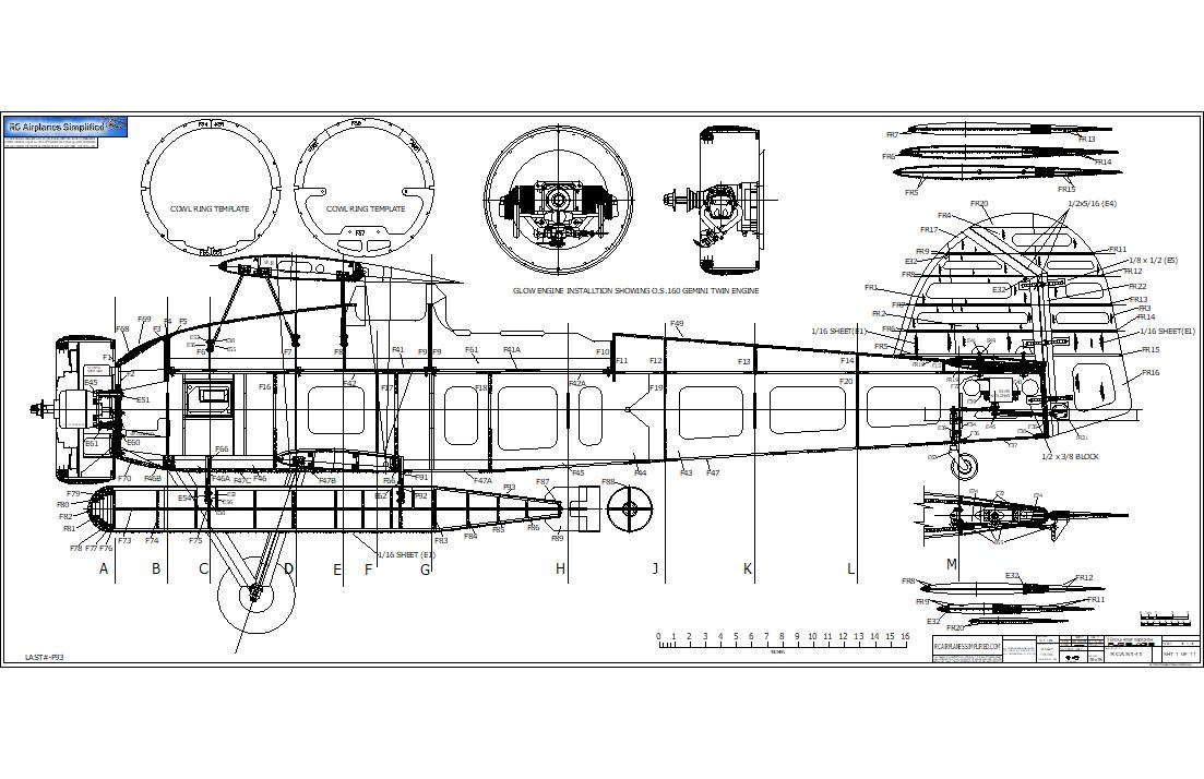 RC airplane plans of the Fairey Swordfish:Fuselage side view