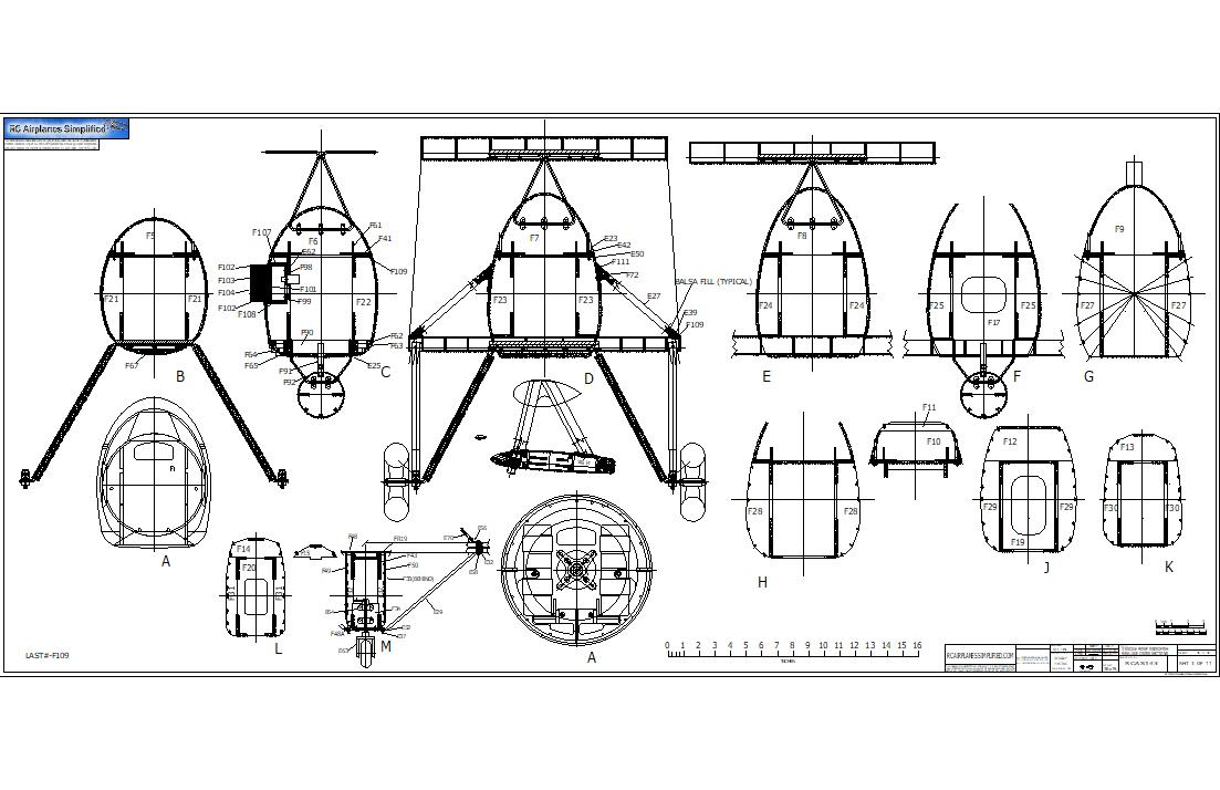 RC airplane plans of the Fairey Swordfish:Fuselage cross sections