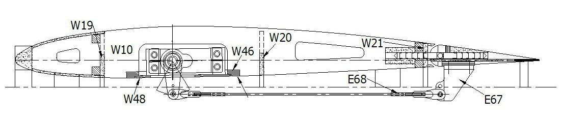 RC airplane plans of the Fairey Swordfish:Upper wing section.