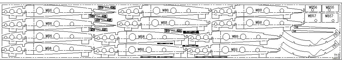 RC airplane plans of the Fairey Swordfish:Parts layout sample.