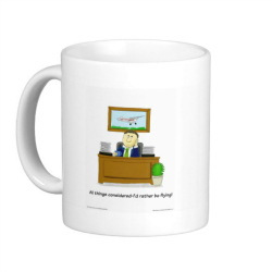 Original cartoon, showing daydreaming flyer classic white coffee mug