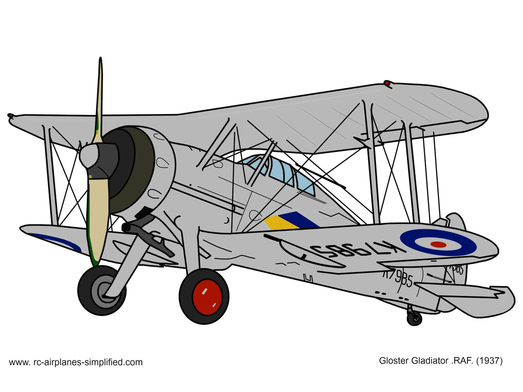 Gloster Gladiator original artwork by Kasey Dixon