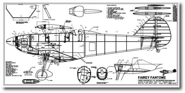 Fairey Fantome RC model plans-fuselage