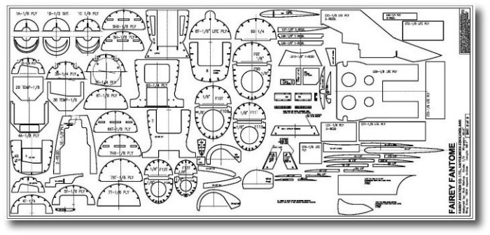 Fairey fantome RC plane plans- parts sheet