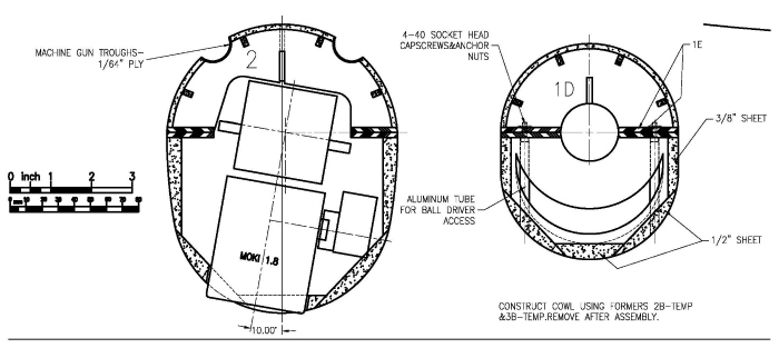 Fairey Fantome 1/5 scale RC airplane: Fuselage nose cross sections