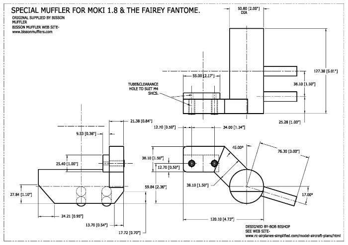 Special Moki muffler for the 1/5 scale Fairey Fantome
