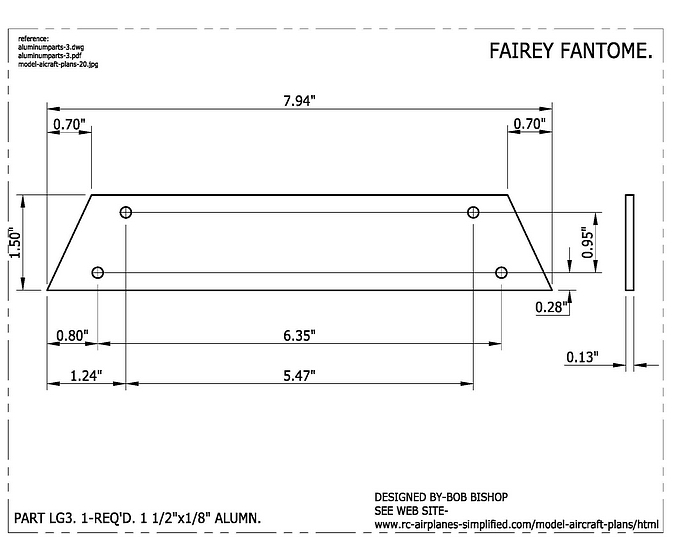 Fairey Fantome 1/5 scale RC airplane:landing gear part