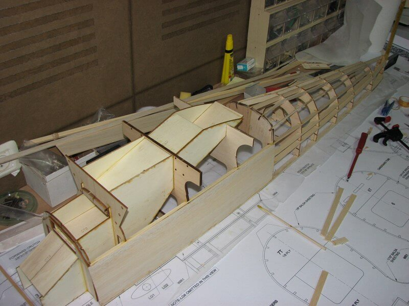 RC model of the Fairey Fantome: 1/5 full size:Fuselage construction.