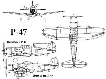 P-47 Thunderbolt 3-view