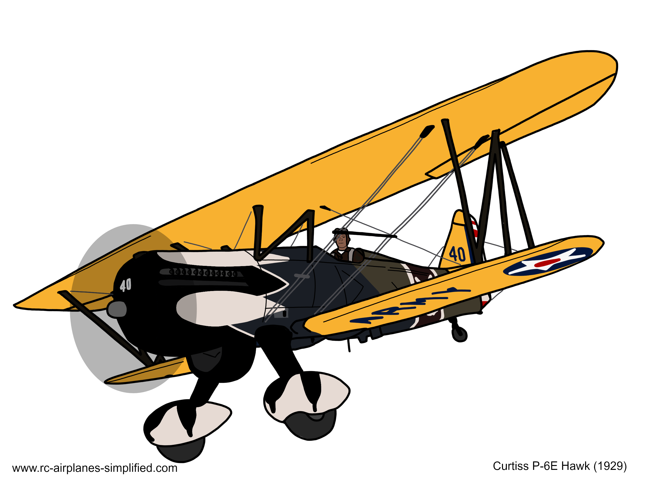 Graphic of the Curtiss P-6E Hawk biplane (1929)