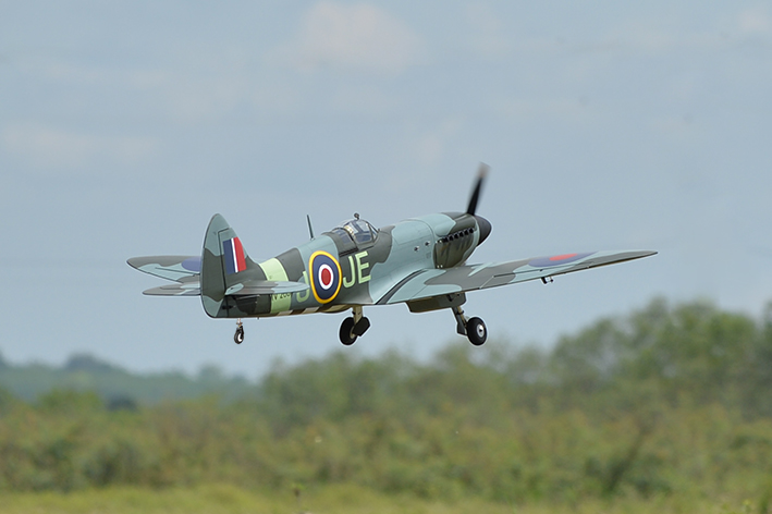 RC Phoenix Spitfire taking off.