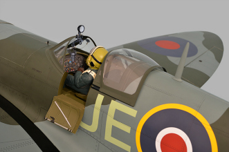 Phoenix Models Spitfire 50-61cc:Close up view of door open and canopy back.