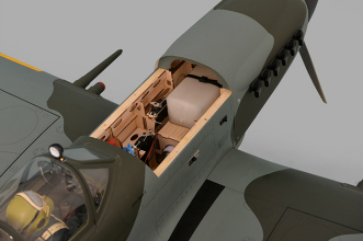Phoenix Models Spitfire 50-61cc:View inside hatch.