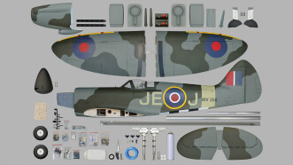 Phoenix Models Spitfire 50-61cc:Parts before assembly.