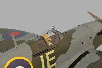 Phoenix Models Spitfire 50-61cc:View with canopy closed