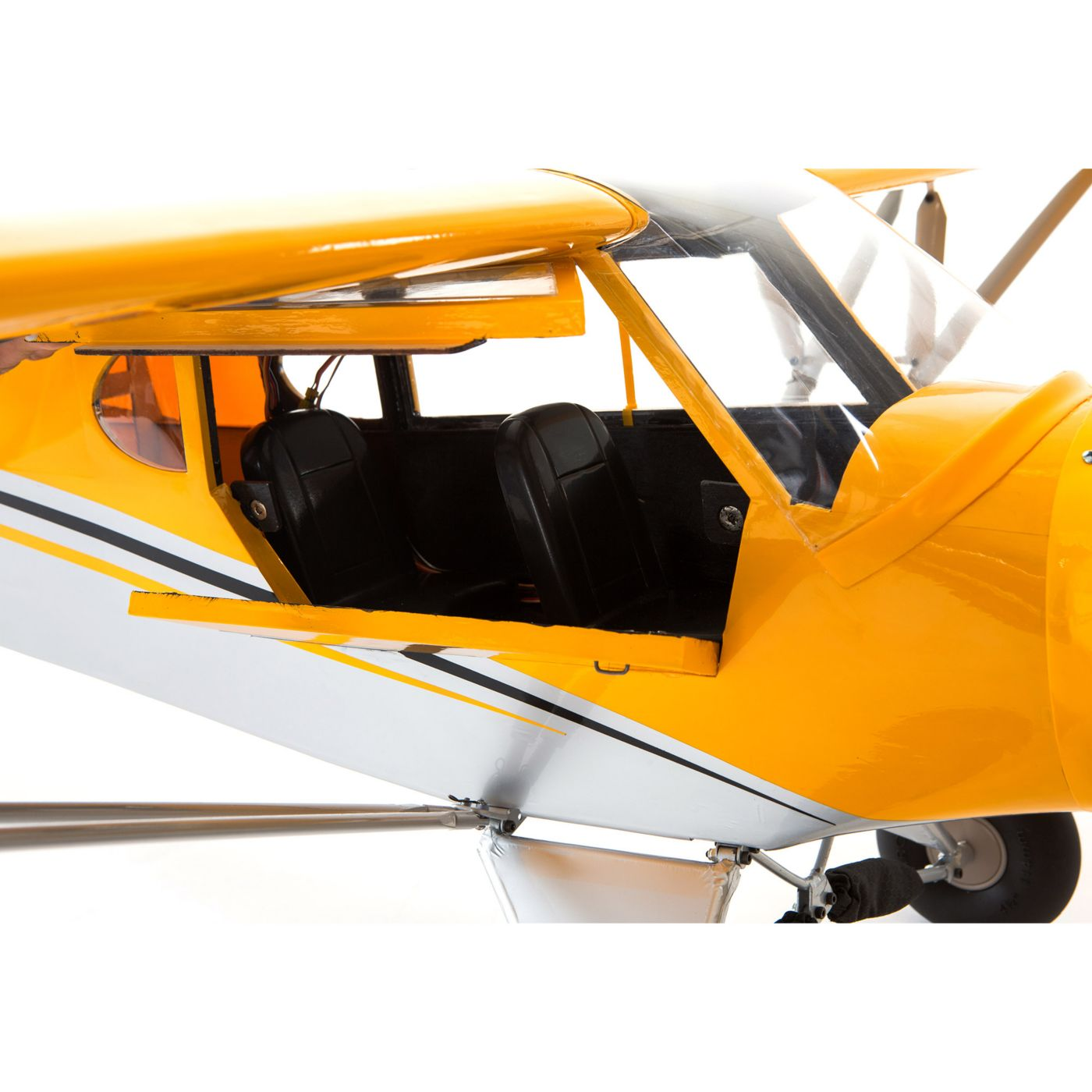 Hangar 9 Carbon Cub RC Airplane: Doors open.