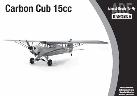 Hangar 9 manual for the Carbon Cub 15cc RC airplane.