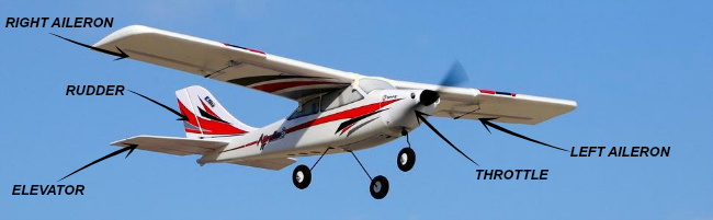 E-Flite Apprentice beginner RC airplane with control surfaces names.