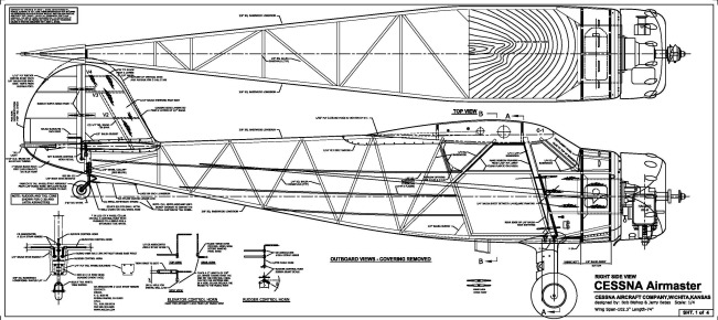 Cessna C-37 Airmaster: CAD plans-fuselage side view