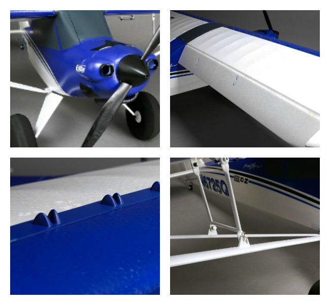 Collage (4-photos) of details of the E-Flite Carbon-Z Cub