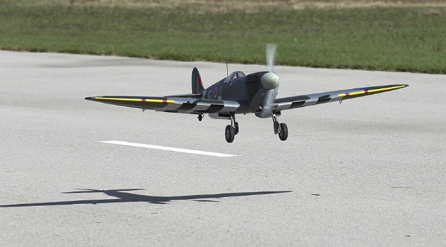 Hangar 9 Spitfire taking off.