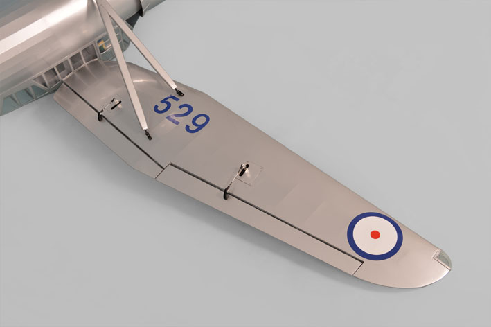 Under view of wing and strut. Phoenix Models large scale Westland Lysander.