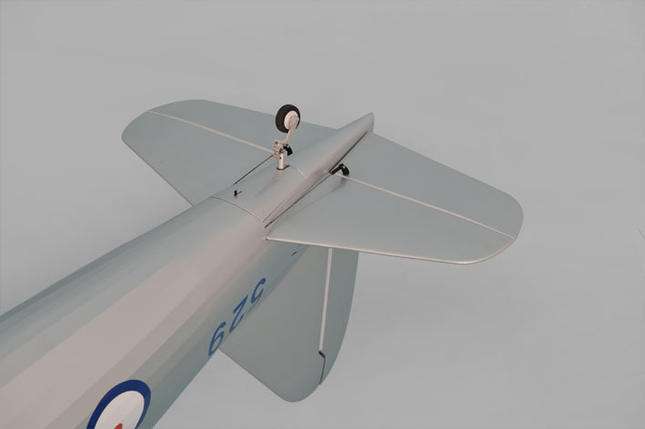 Phoenix Models large scale Westland Lysander. Photo showing underside of tail