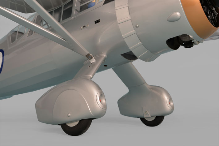 Phoenix Models large scale Westland Lysander. Photo showing landing gear