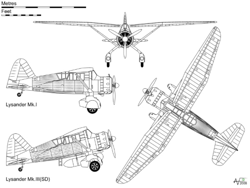 The Westland Lysander 3-view drawing