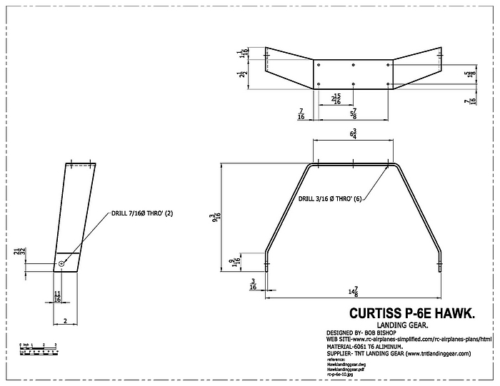 Curtiss P-6E Hawk:1/4 scale RC model, landing gear