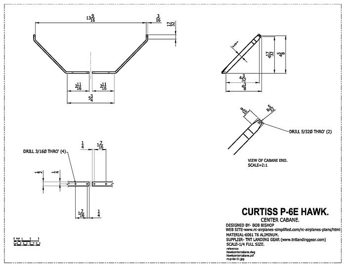 Curtiss P-6E Hawk:1/4 scale RC model, cabane strut
