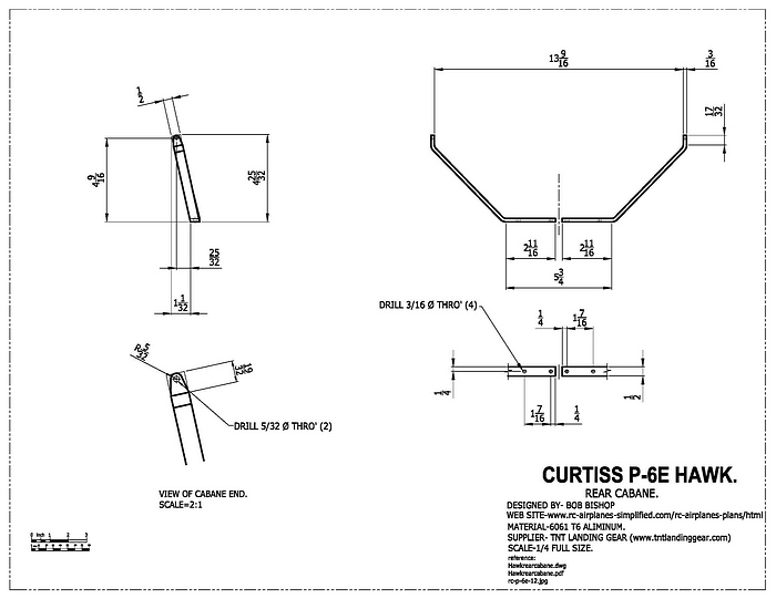 Curtiss P-6E Hawk:1/4 scale RC model, cabane strut