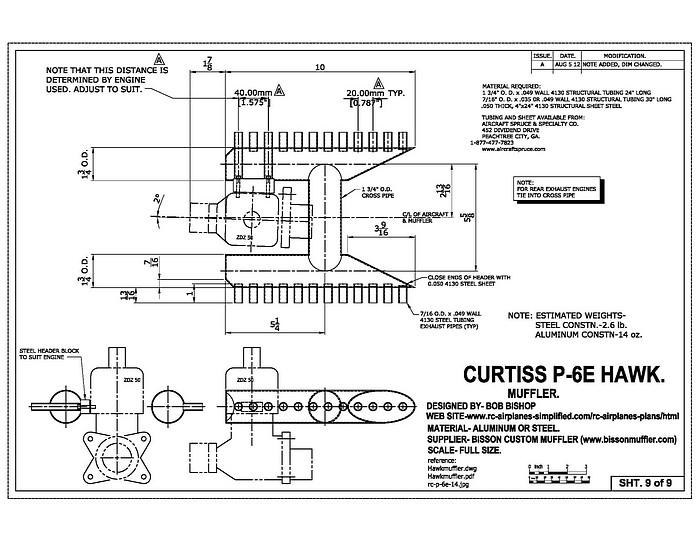 Curtiss P-6E Hawk:1/4 scale RC model,scale muffler drawing
