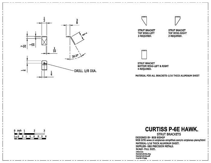 Curtiss P-6E Hawk:1/4 scale RC model,strut parts