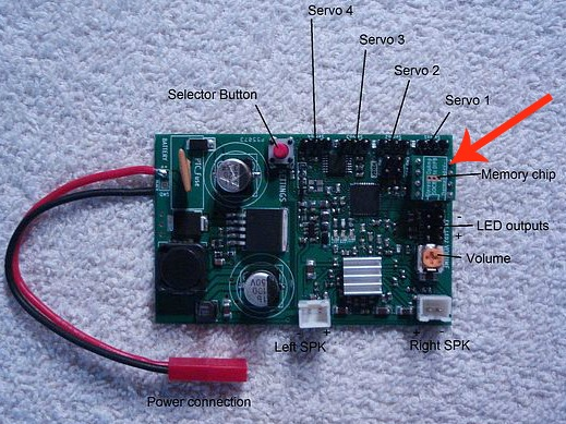 The Mr RC Sound V4.1 system showing location of sound pack chip