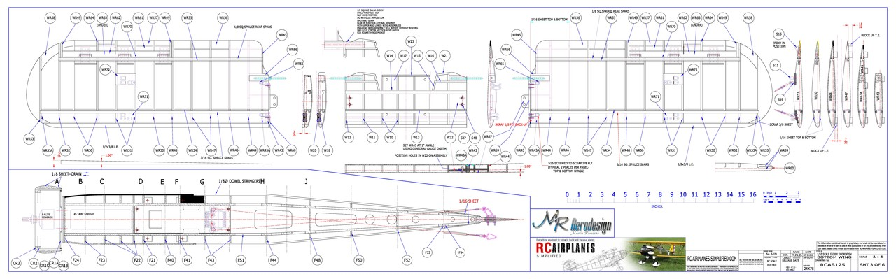 RC Fairey Swordfish -1/10 scale. Plans-Bottom Wing.