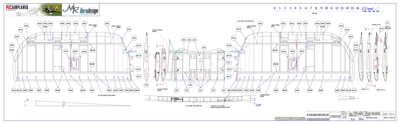 RC Fairey Swordfish -1/10 scale. Plans-Top Wing.