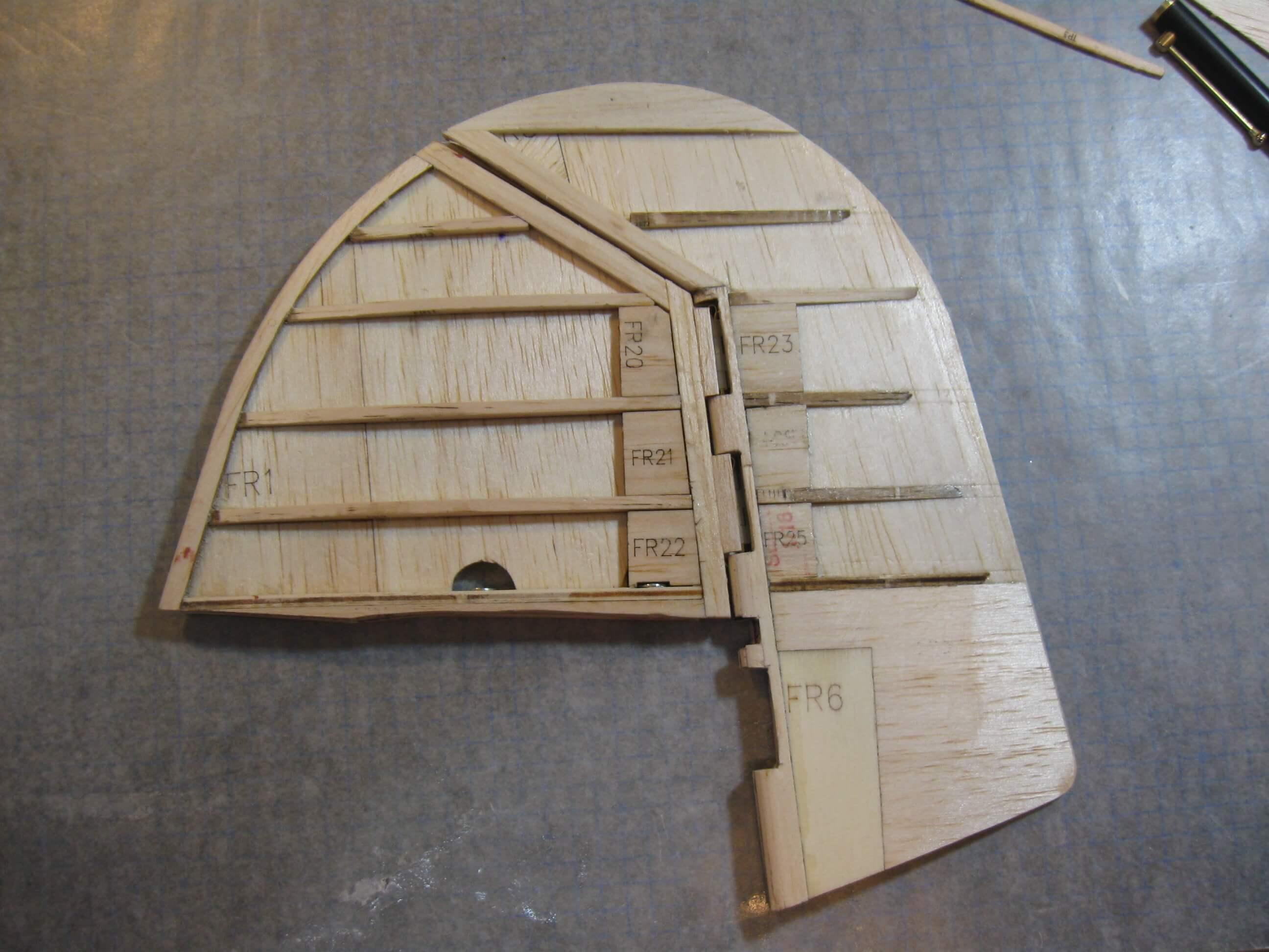 RC Fairey Swordfish construction:Fin & Rudder Construction