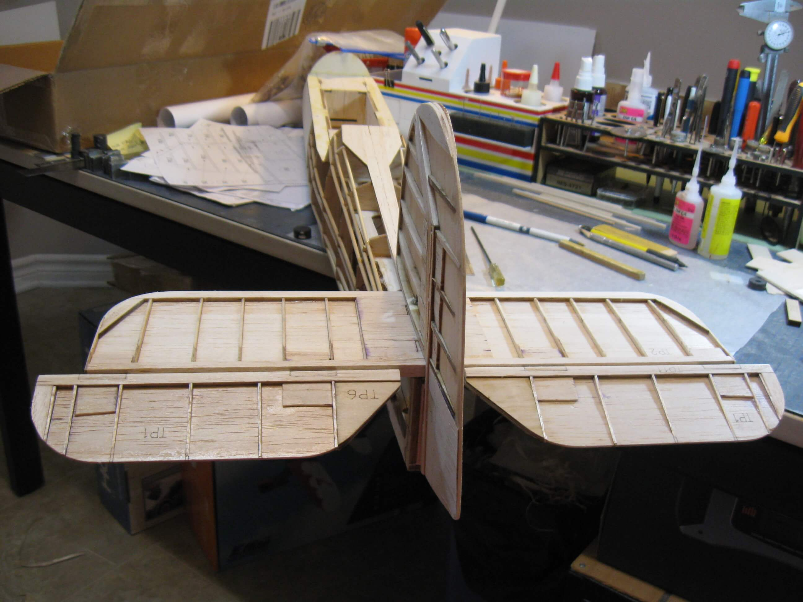 RC Fairey Swordfish construction:Finished Tail feathers