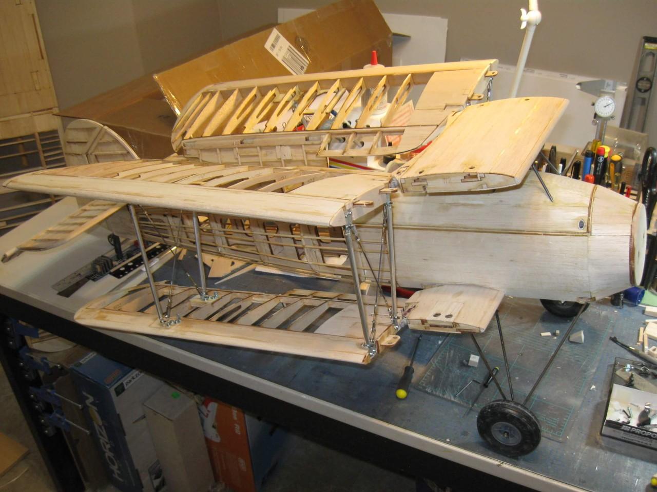 RC Fairey Swordfish -1/10 scale: Construction shot of wings folded.