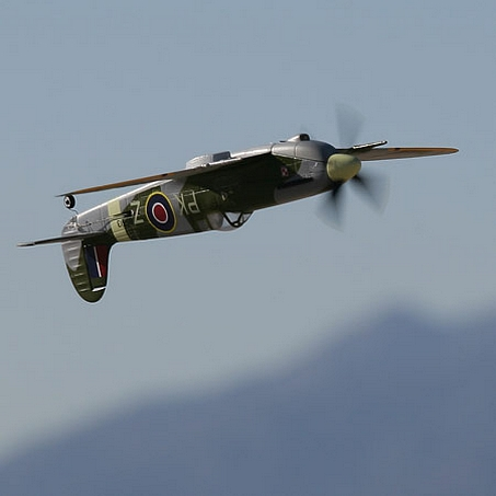 The Spifire flying inverted