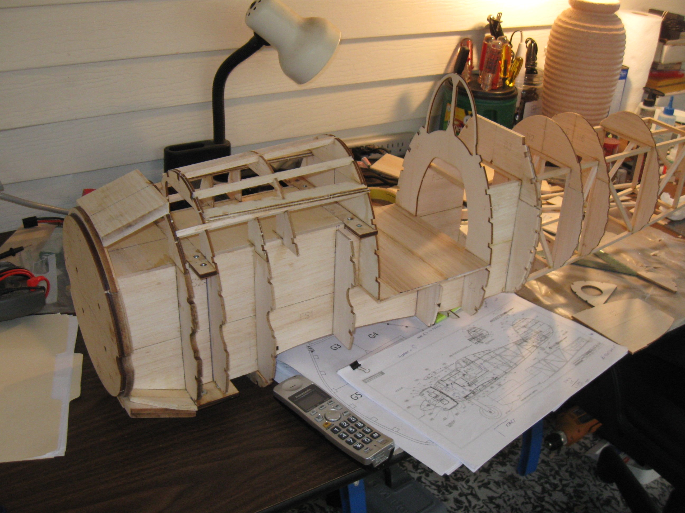 RC Gladiator Construction: Adding fuselage formers.