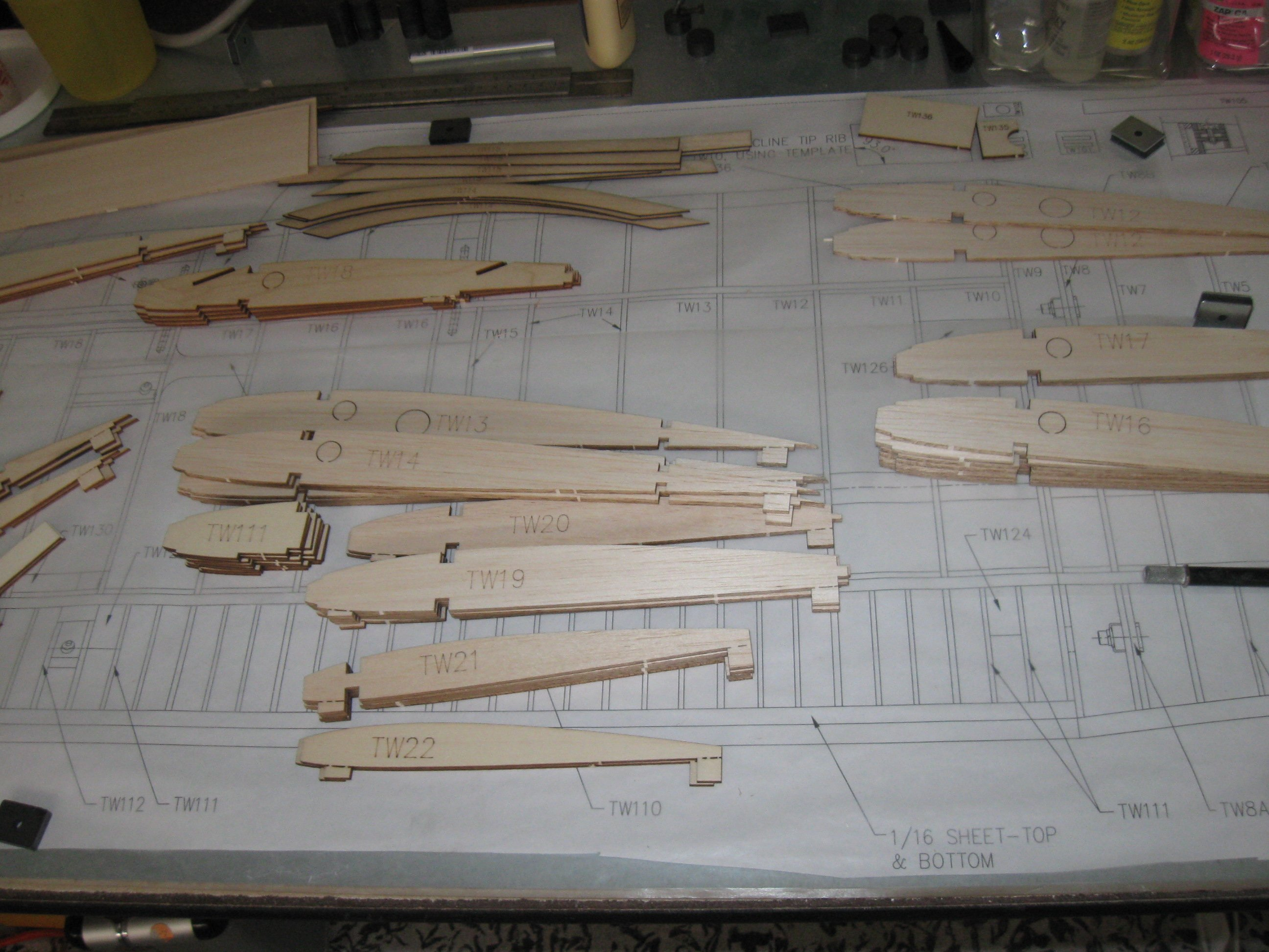 RC Gladiator Construction: Laser Cut Wing Ribs.